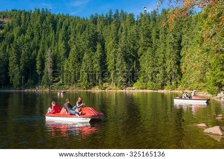 SEEBACH, GERMANY - SEPTEMBER 06,  2009: The Mummelsee near Seebach, Black Forest, Baden-Wurttemberg, Germany, Europe