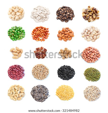 Seed collection on white background - stock photo