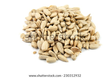 seed of sunflower are isolated on a white background - stock photo