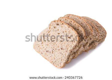 Seeded Wholegrain Bread Slices Isolated on a White Background - stock photo