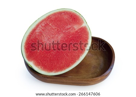 Seedless watermelon isolate on white background with clipping path.   - stock photo