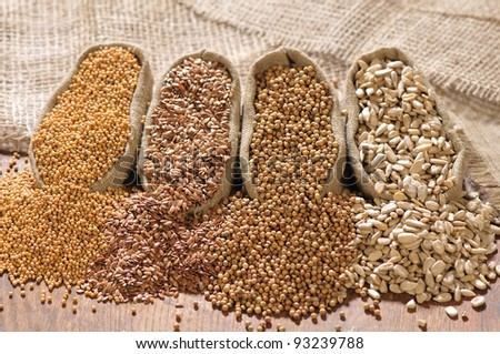 seeds of mustard, flax, coriander and sunflower are spilled from linen sacs - stock photo