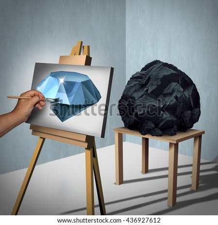 Seeing the possibilities or value opportunity and creating wealth financial concept as a painter looking at a rock or coal as a painted precious diamond with 3D illustration elements.