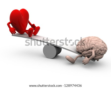 seesaw with heart and brain, 3d illustration - stock photo