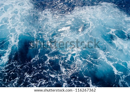 Seething Mediterranean sea water, shot in the open sea from directly above - stock photo