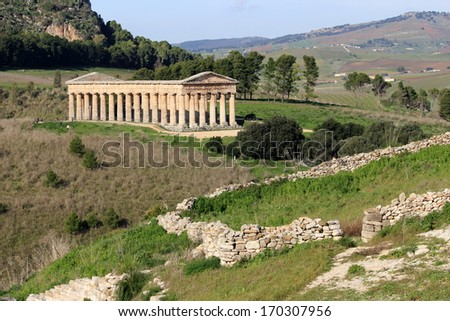 segesta archaeological site of ancient Magna Grecia drills Sicily Italy - stock photo
