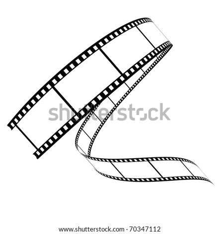 Segment film rolled down on a white background - stock photo