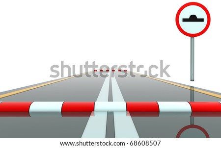 Segment of road with sign and roadblock - stock photo