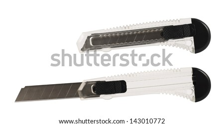 Segmented or snap-off blade utility box cutter knife isolated over white background, set of two foreshortening - stock photo