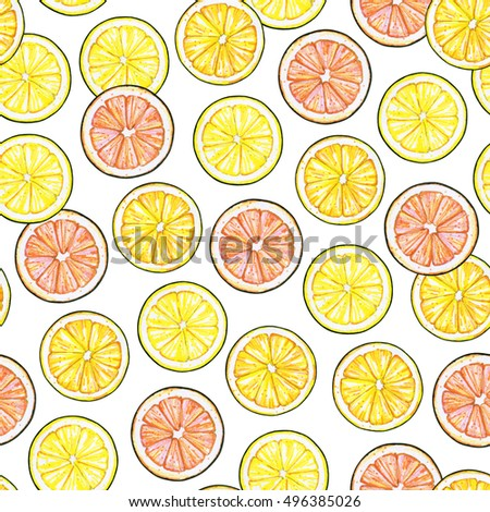 Segments of a yellow lemon of orange orange of red grapefruit fruits isolated on white background. Hand work drawing. Seamless pattern for design