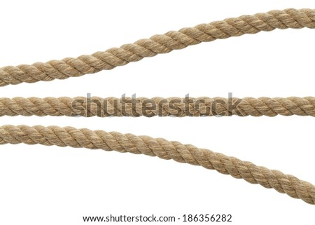 Segments of Brown Rope Isolated on White Background.