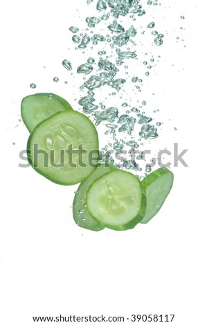 Segments of cucumber in water 2