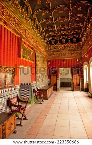 SEGOVIA, SPAIN - 14 JUNE 2010: Interior of the famous Alcazar of Segovia on 14 June. Many apartments are decorated with delicate traceries and pendant ornaments. - stock photo