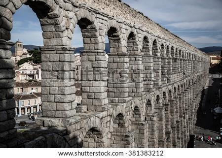 Segovia, Spain -June 21, 2014:The famous ancient aqueduct in Segovia, Castilla y Leon, Spain. - stock photo