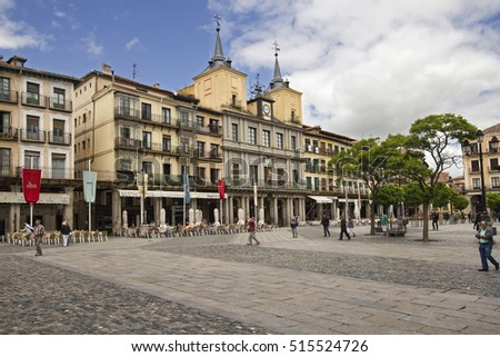 Segovia, Spain - May 30, 2016: People walking on the town square or Plaza Mayor in Segovia, Spain on May 30, 2016