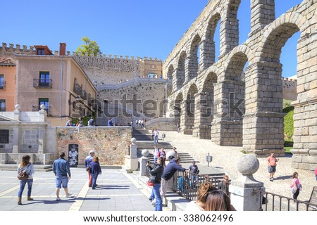 SEGOVIA, SPAIN - May 03.2014: Roman aqueduct, built at the end of 1 century of our era - stock photo