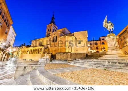 Segovia, Spain. Plaza de Medina del Campo with San Martin Church, twilight of Castile, Castillia. - stock photo