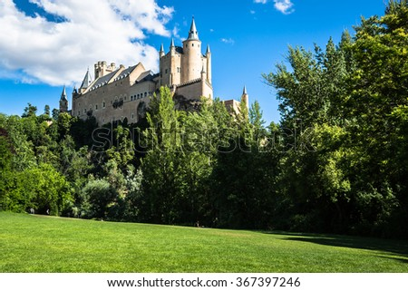 Segovia, Spain. The famous Alcazar of Segovia, rising out on a rocky crag, built in 1120. Castilla y Leon.