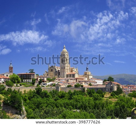 Segovia, Spain. The historic city of Segovia skyline with Catedral de Santa Maria de Segovia, Castilla y Leon. World Heritage Site by UNESCO - stock photo