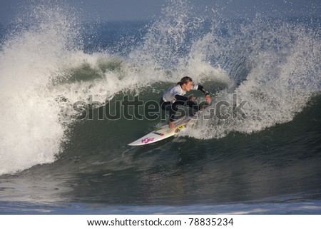 SEIGNOSSE, FRANCE - JUNE 3: Woman surfer Paige Hareb at the Swatch Pro France on June 3, 2011 in Seignosse, France.