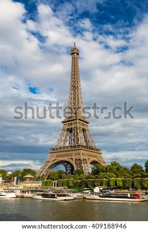 Seine and Eiffel tower in a beautiful summer day in Paris - stock photo