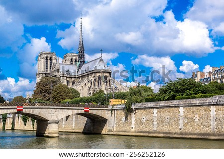 Seine and Notre Dame de Paris is the one of the most famous symbols of Paris - stock photo