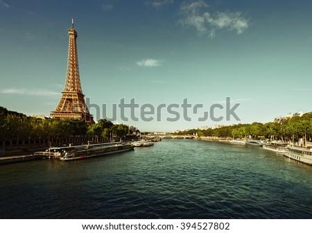 Seine in Paris with Eiffel tower - stock photo