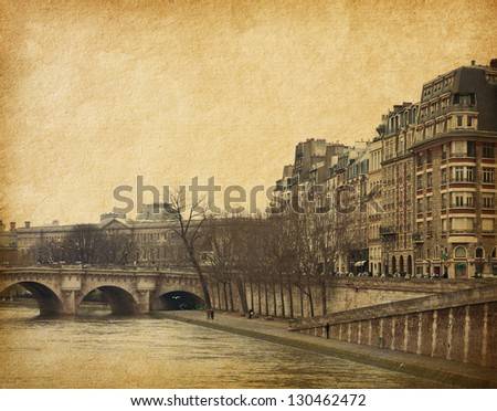 Seine.Pont Neuf in central Paris, France.   Photo in retro style. Paper texture. - stock photo