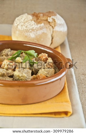 Seitan stew with carrot vegetables, vegetarian and vegan food, bread rustic, homemade,  cooked homemade  - stock photo