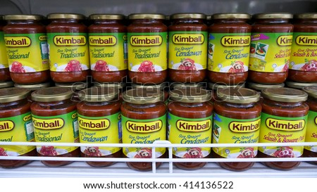 SELANGOR, MALAYSIA - 29 April, 2016: Rows of Kimball products inside hypermarket in Bangi, Selangor. - stock photo