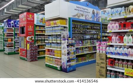 SELANGOR, MALAYSIA - 29 April, 2016: Rows of shelves inside hypermarket in Bangi, Selangor. - stock photo
