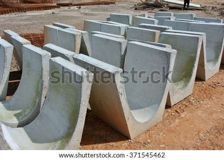 SELANGOR, MALAYSIA � APRIL, 2014: V-Shape drain is a surface water drainage drain to discharge rain water to nearest channel. It was made from precast concrete from factory.