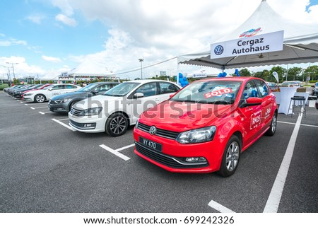 SELANGOR, MALAYSIA - AUGUST 12, 2017: Volkswagen cars stands on car dealer during independence day celebration.