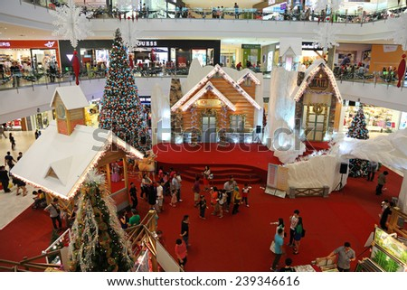 "SELANGOR, MALAYSIA - DECEMBER 20: The beautiful Christmas decorations at IOI City Mall on December 20, 2014 in Sepang Selangor, Malaysia. Theme of this year is ""Christmas Comes To Town"". - stock photo"
