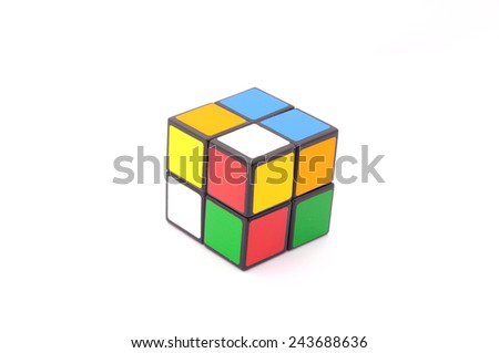 Selangor, Malaysia - Jan 13, 2015: Rubik's Cube on a white background. Rubik's Cube invented by a Hungarian architect Erno Rubik in 1974.