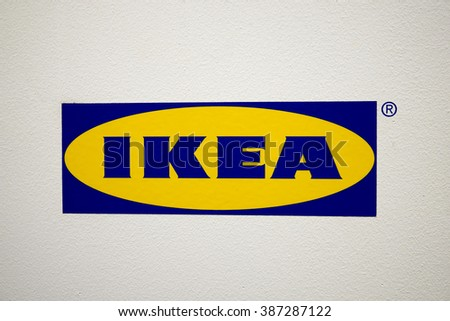 SELANGOR, MALAYSIA - MARCH 03 : The Ikea logo in Ikea Damansara Malaysia on March 03,2016. Ikea was founded in Sweden in 1943. - stock photo