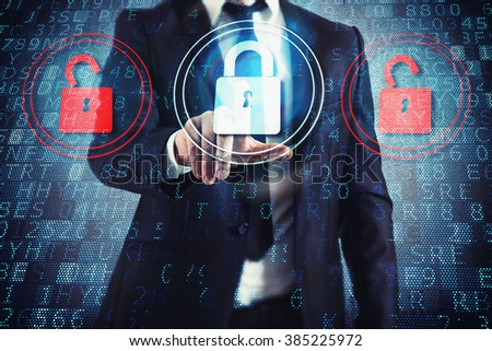 Select closed padlock - stock photo
