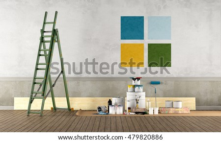 Select color swatch to paint old wall - 3d rendering