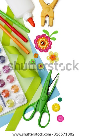 Selected art and craft supplies on pure white background, with soft shadows. - stock photo