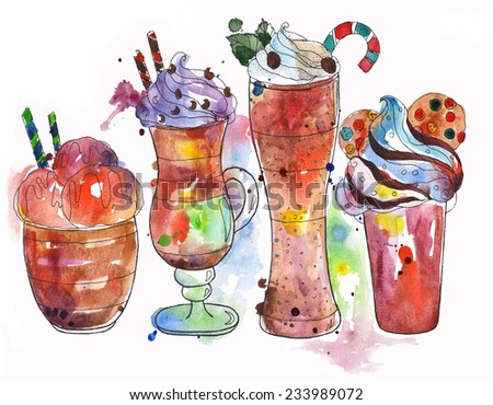Selection hot drinks: coffe ice cream, latte, frappe, hot chocolate with cakes. Watercolors Painting. - stock photo