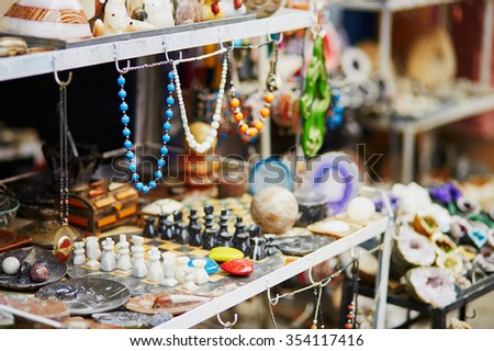 Selection of  bijouterie on Moroccan market (souk) in Marrakech, Morocco - stock photo