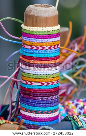 Selection of color thread bracelets  - stock photo