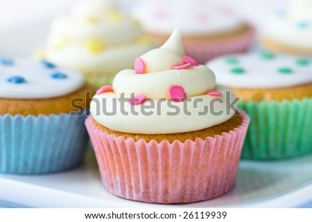 Selection of colorful cupcakes - stock photo