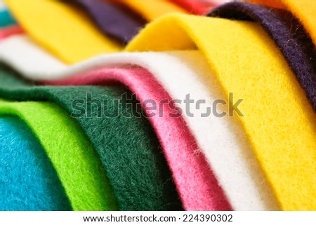Selection of colorful felt sheets - stock photo