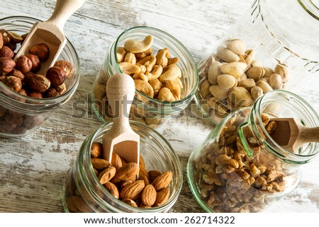 Selection of dried fruits in jars