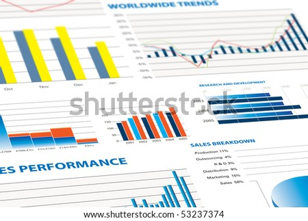 selection of financial and economic graphs as a background graphic - stock photo