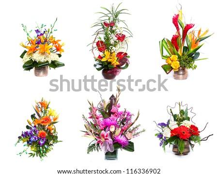 Selection of flower arrangement - stock photo
