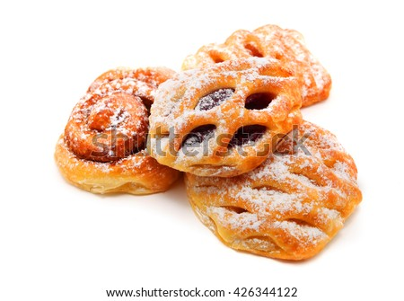 Selection of French & Danish pastries isolated on white background