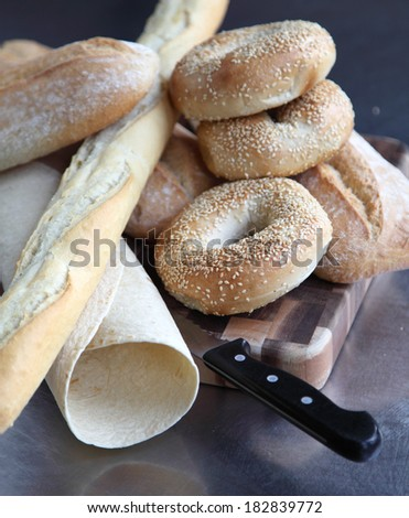Selection of fresh breads - stock photo