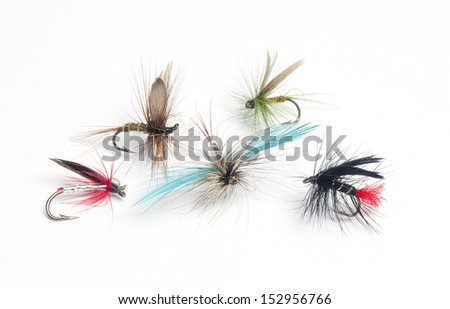 Selection of hand tied fishing flies on white - stock photo